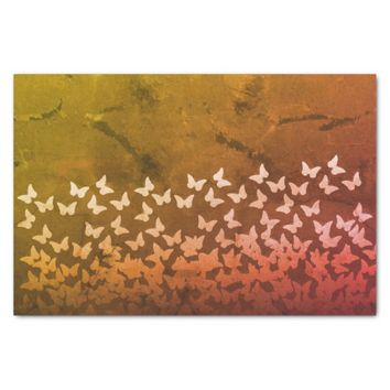 Yellow, brown, orange color butterflies pattern tissue paper
