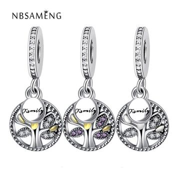2017 Real 925 Sterling Silver Bead Family Tree Heritage Dangle Charm Fit Original Pand