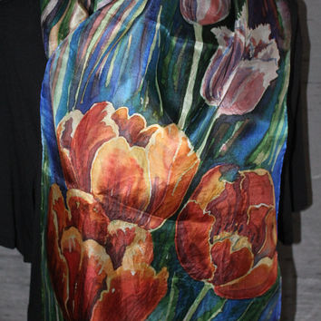 """Tulips wall hanging/ silk scarf hand painted by Estonian silk artist in serti technique on ponge silk. Red and pink tulips,  14"""" x 51"""""""