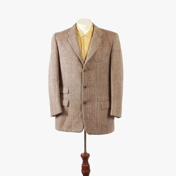 Vintage 50s BLAZER / 1950s Men's Herringbone Beige Wool Sport Coat Jacket M