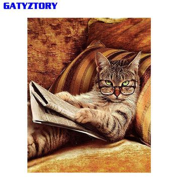 GATYZTORY Cat Diy Painting By Number Animals Acrylic Hand Painted Paint By Number Wall Art Picture For Modern Home Decor Drop