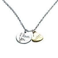 Sister I Love You Best Friends Two-Piece Pendant Gift Card Heart Necklace 18 Inch