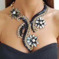 Big Rhinestone Statement Necklace