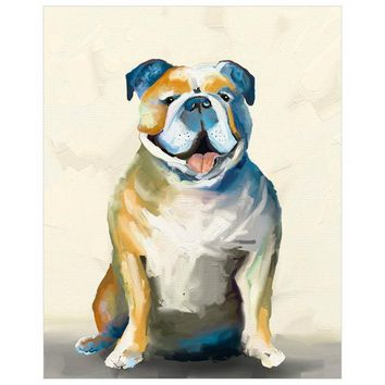 Best Friend - Bulldog On Cream Wall Art