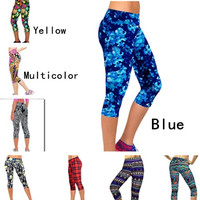 Capri Leggings High Waisted Floral Printing Yoga Pants Lady's Finess Workout Casual Pants Gym = 1931849988