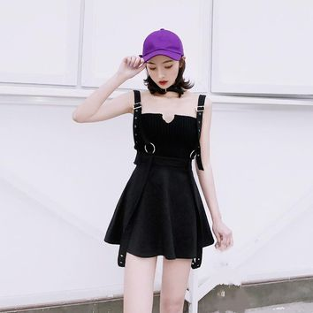 2018 Harajuku Fashion Woman Rock Punk Sexy Strap Skirts High Waist Female Vintage Black Gothic Mini Suspenders A-Line Skirts