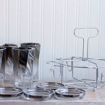 Vintage Drink Caddy - 1960s Drinking Glasses Holder - Smokey Gray Barware