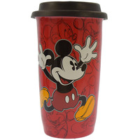 Disney Parks Mickey Mouse Red Sketch Ceramic Coffee Travel Mug New