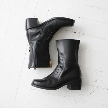 black leather boots / mid calf boots / black boots 7