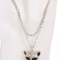 Silver High Polished Metal Animal Pendent Chain Necklace