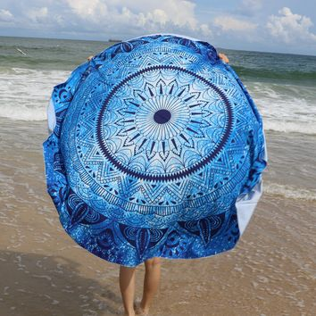 Round Blue Print Mandala Roundie Round Beach Throw Tapestry, Hippy Boho Gypsy Cotton Table Cloth Beach Towel, Round Yoga Mat 12127  Diameter 145cm