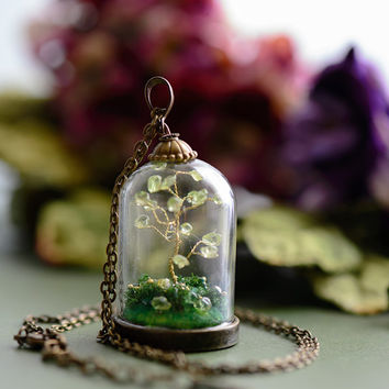 Peridot Steampunk Pendant - miniature bonsai tree terrarium