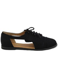 Black Canvas Oxford Flats