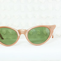 Taupe Pearl 1950's Cat Eye Sunglasses Non by THAYEReyewear on Etsy