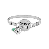 Gypsy Soul Stamped Wire Wrapped Bangle Bracelet