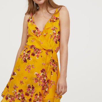 Short flounced dress - Yellow/Floral - Ladies | H&M GB