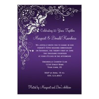 Dark Purple with Ornate Silver Floral Swirls 25th Card