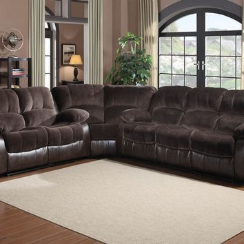 3 pc cranley collection 2 tone chocolate textured microfiber and brown faux leather upholstered sectional sofa set