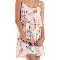 Ivory Combo Textured Floral Print Flounce Dress by Charlotte Russe