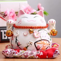 Maneki-Neko Ceramic Lucky Cat Porcelain Ornament - 4.5 inch