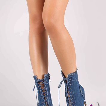 Wild Diva Lounge Frayed Denim Lace Up Peep Toe Stiletto Booties