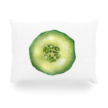 "Theresa Giolzetti ""Cucumber"" Green White Oblong Pillow"