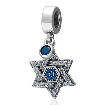 Ollia Jewelry 925 Sterling Silver Dangle Charm with White and Blue Zircon Stones Hexagram Double Triangle Star of David European Beads and Charms