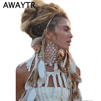 Festival Feather Headband AWAYTR Boho White Feather Rope Crown Elastic Headbands Women Wedding Headwear Gypsy Hair Accessories