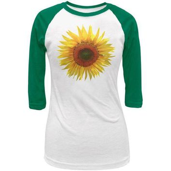 ESBGQ9 Giant Sunflower Juniors 3/4 Raglan T Shirt