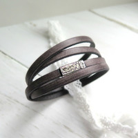 Leather Wrap Bracelet - Rustic Brown - Leather Bracelet - Gifts for Her