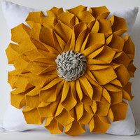 Felt Flower Pillow Cover -Mustard Gray White Pillow Case -Floral Decorative Pillow -Gift -20x20 -Hostess Gift -Mothers Day -Christmas Autumn