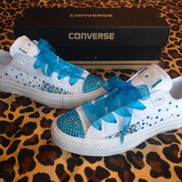 Full Rhinestone Ombre Converse with Ribbon Shoelaces