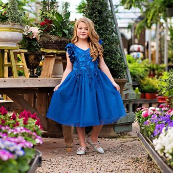 Ariana Royal Blue Petal Sleeve Satin & Lace Dress