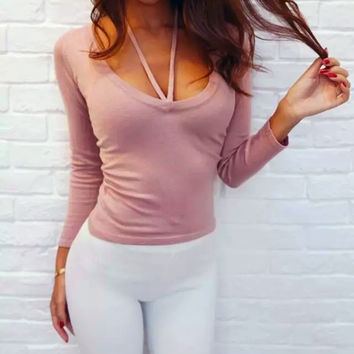 Women's Fashion Long Sleeve V-neck Tops T-shirts [10215218503]