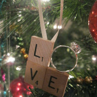 Scrabble Tile LOVE Engagement Ring Christmas Ornament - Just Engaged, Just Married, First Christmas Together