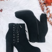 CRYSTAL SUEDE TIE SIDE BOOTIE - BLACK