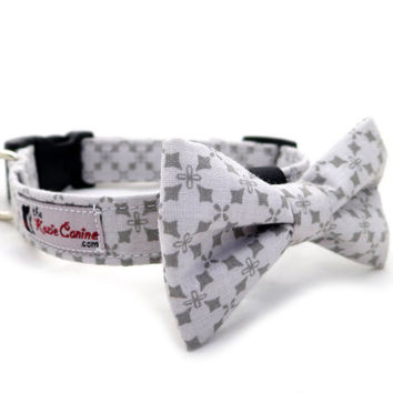 Grey Diamond Pattern on Light Grey Cotton Dog Collar  (Dog Collar Only - Matching Bow Tie Available Separately)