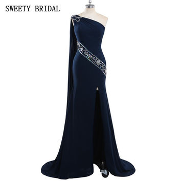 Arabic Evening Prom Dress Spanish Romantic One Shoulder Mermaid Dark Navy Blue Evening Formal Dresses