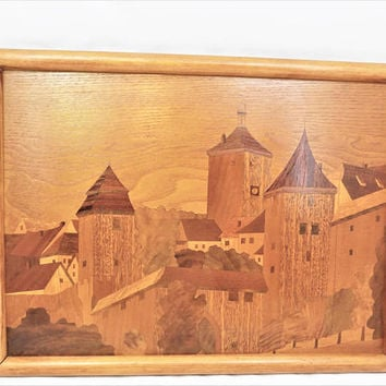 Wood Inlay Tray, Village Scene, Handled Serving Tray, Hand Crafted Tray or Hanging