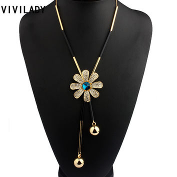 VIVILADY Fashion Metal Chain Flower Long Chain Tassels Necklaces Women Crystals Rhinestones OL Bohemian Costumes Jewelry Bijoux