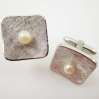 Cultured Pearl Sterling Cufflinks Wedding Cuff Links Mens Jewelry Gifts for Men