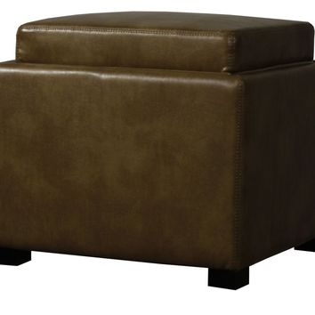 Cameron Square Bonded Leather Storage Ottoman w/ tray, Molasses