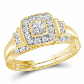 10kt Yellow Gold Womens Round Diamond Solitaire Square Bridal Wedding Engagement Ring Band Set 1/3 Cttw