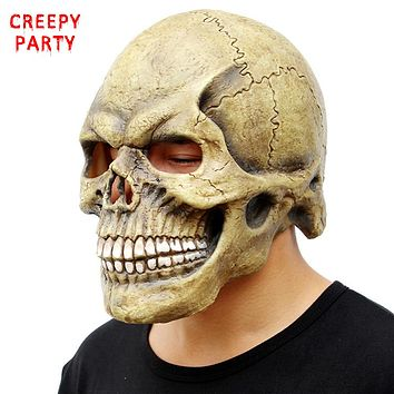 Scary Skull Mask Full Head Realistic Latex Party Mask Horror Halloween Mask Cosplay Toy Props
