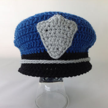 Baby Police Policeman Outfit - 3 pc Crochet Diaper Cover Set w/Shoes - Photography Prop - Newborn - 0-3 - Police Hat