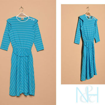 Vintage 1980s Striped Blue Day Dress with Side Pockets