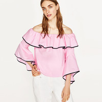 POPLIN TOP WITH FRILLED SLEEVES DETAILS