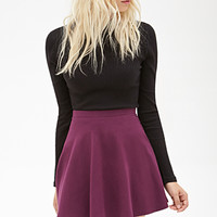 FOREVER 21 Classic Knit Skater Skirt Plum Medium