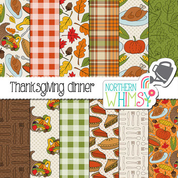 "Fall Digital Paper - ""Thanksgiving Dinner"" - Autumn scrapbook paper with cornucopia, leaves, turkey, pumpkins, corn & pie -commercial use OK"