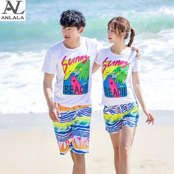 summer seaside Couple short pants Quick-drying Wave printing  Beach pants surfing